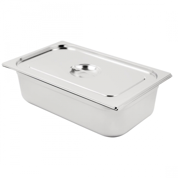 Vogue Stainless Steel 1/1 Gastronorm Pan with Lid