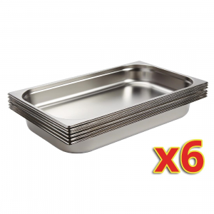 Vogue Stainless Steel 1/1 Gastronorm Pans 65mm (Pack of 6)