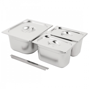 Vogue Stainless Steel Gastronorm Pan Set 1/2 and 2x 1/4 with Lids